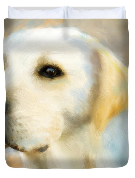 Duvet Cover featuring the digital art Yellow Lab Portrait by Patricia Lintner