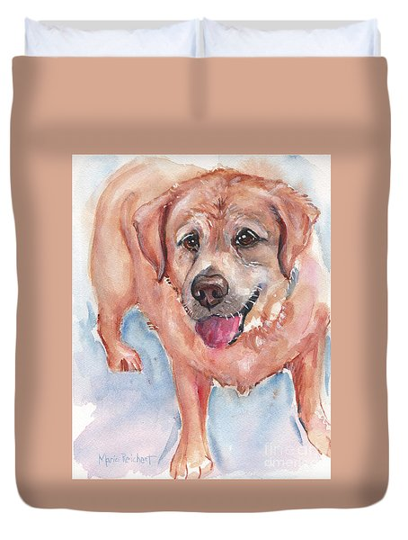 Yellow Labrador Watercolor Painting Duvet Cover