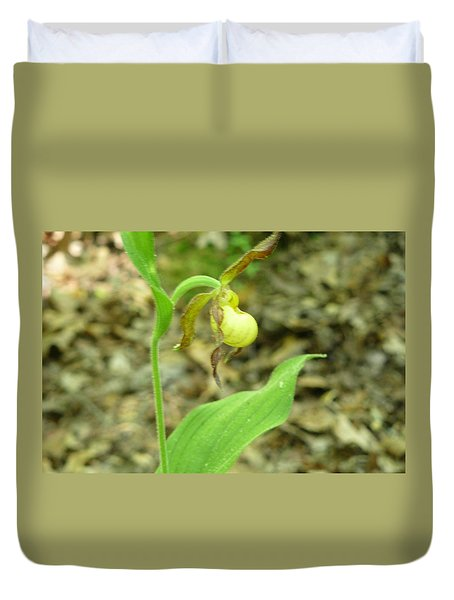 Duvet Cover featuring the photograph Yellow Lady-slipper by Linda Geiger