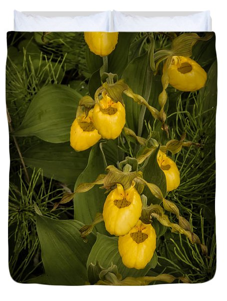 Yellow Lady Slippers Duvet Cover