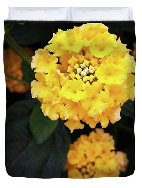 Duvet Cover featuring the photograph Yellow Lantanas Along The Scenic Drive by Mr Photojimsf