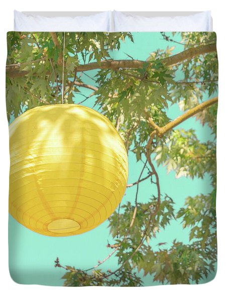 Duvet Cover featuring the photograph Yellow Lantern by Cindy Garber Iverson