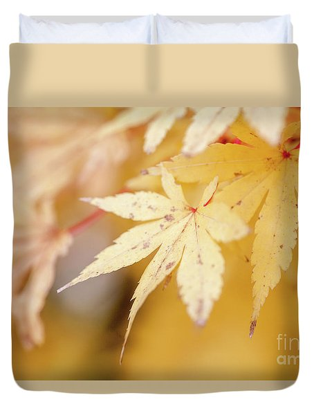 Yellow Leaf With Red Veins Duvet Cover