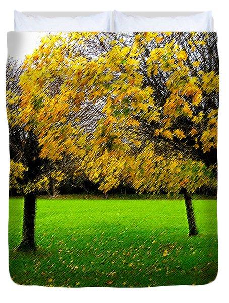 Yellow Leaves At Muckross Gardens Killarney Duvet Cover