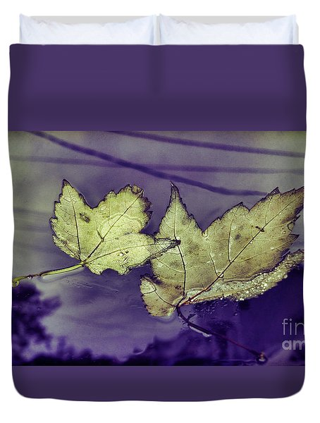 Yellow Leaves On  Windshield Duvet Cover