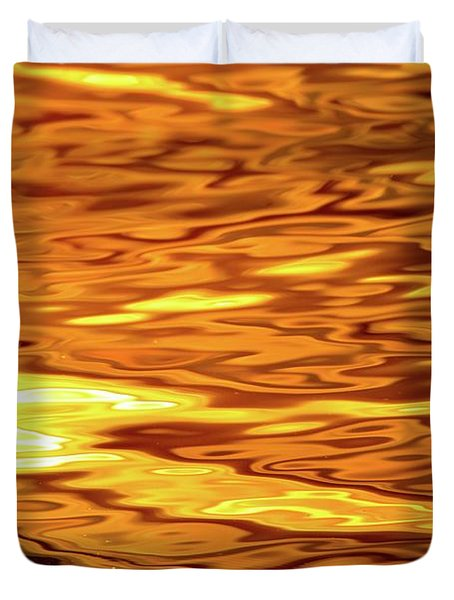 Yellow Light On Water  Duvet Cover