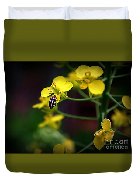 Duvet Cover featuring the photograph Yellow Lightning by Lisa L Silva
