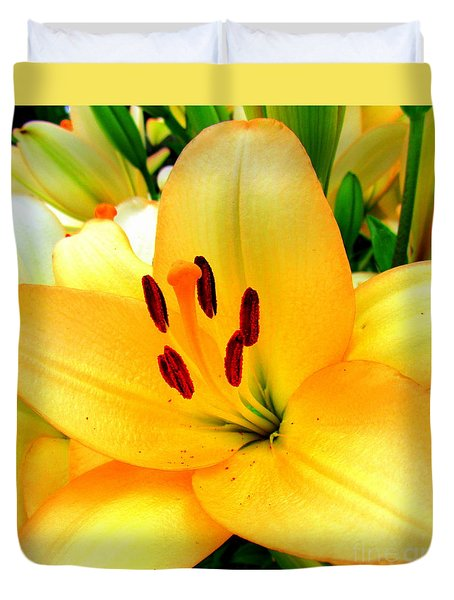 Duvet Cover featuring the photograph Yellow Lilies 1 by Randall Weidner