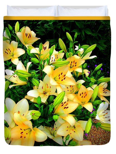 Duvet Cover featuring the photograph Yellow Lilies 2 by Randall Weidner