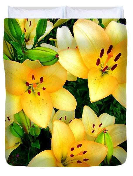 Duvet Cover featuring the photograph Yellow Lilies 3 by Randall Weidner