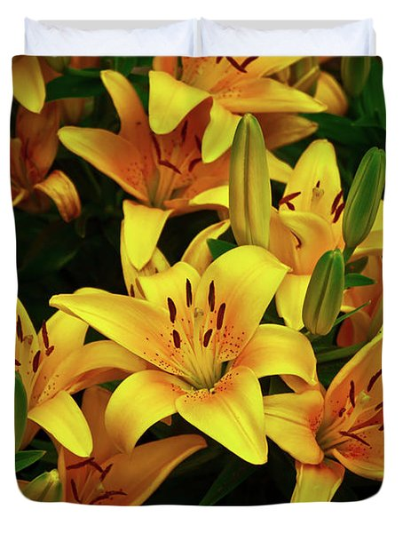 Duvet Cover featuring the photograph Yellow Lilies by Joann Copeland-Paul