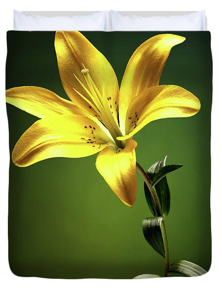 Yellow Lilly With Stem Duvet Cover