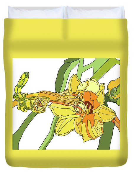 Yellow Lily And Bud, Graphic Duvet Cover