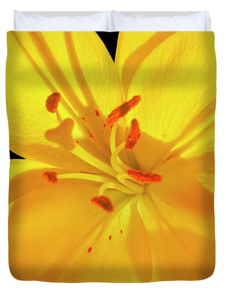 Yellow Lily Closeup Duvet Cover