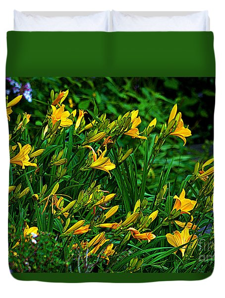 Duvet Cover featuring the photograph Yellow Lily Flowers by Susanne Van Hulst