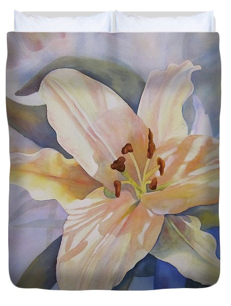 Duvet Cover featuring the painting Yellow Lily by Teresa Beyer