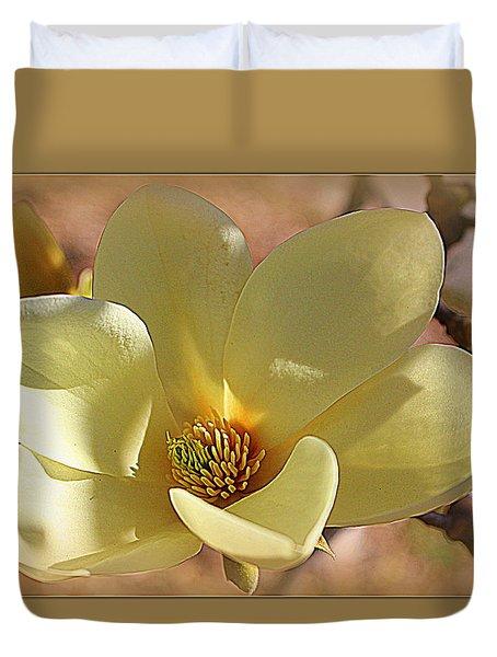 Yellow Magnolia In Full Bloom Duvet Cover