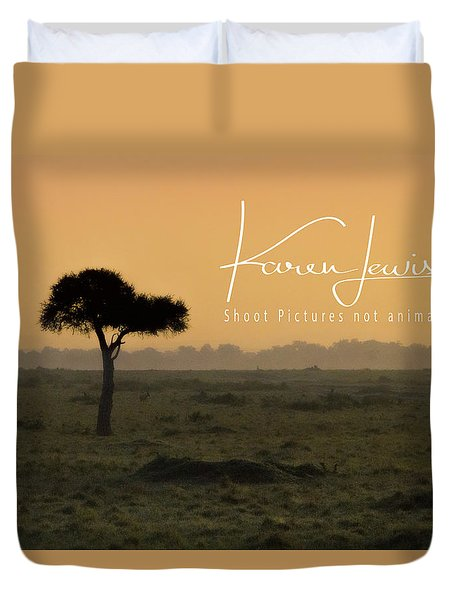 Duvet Cover featuring the photograph Yellow Mara Dawn by Karen Lewis