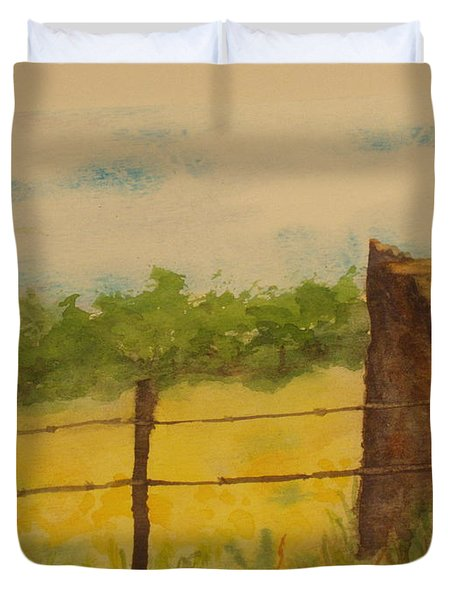 Duvet Cover featuring the painting Yellow Meadow  by Vicki  Housel