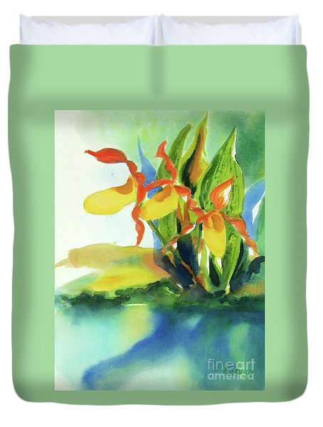 Duvet Cover featuring the painting Yellow Moccasin Flowers by Kathy Braud