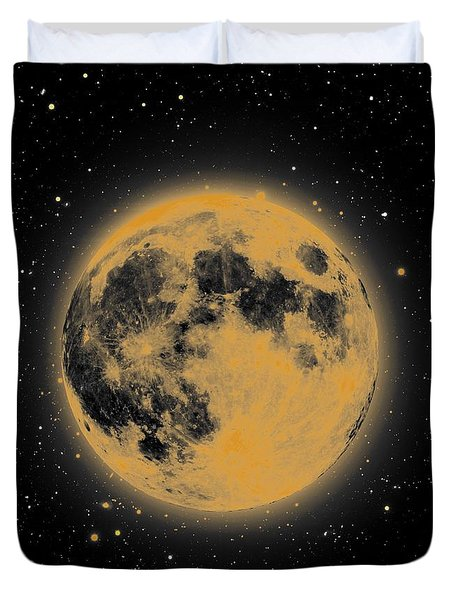 Yellow Moon Duvet Cover