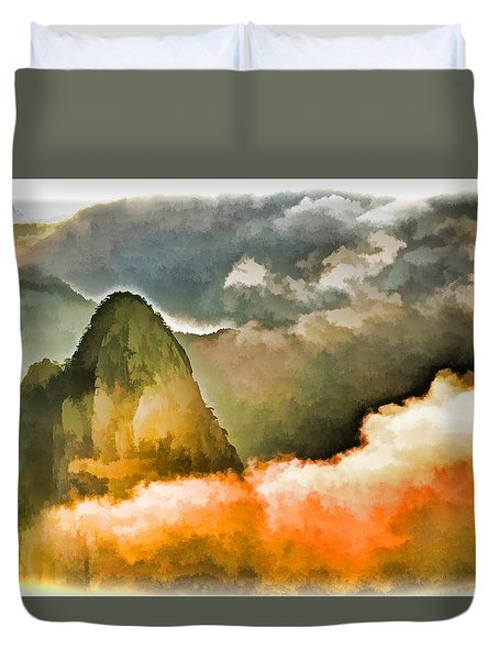Yellow Mountain Mists Duvet Cover