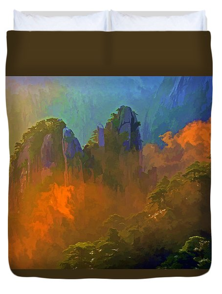 Yellow Mountain Sunrise Duvet Cover