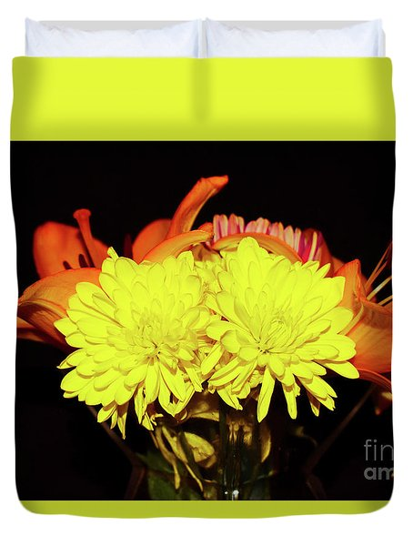 Yellow Mums And Orange Lilies  Duvet Cover
