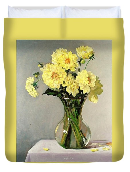 Family Of Yellow Mums In Glass Vase Duvet Cover