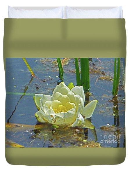 Yellow Nymphaea Alba Damselfy Duvet Cover