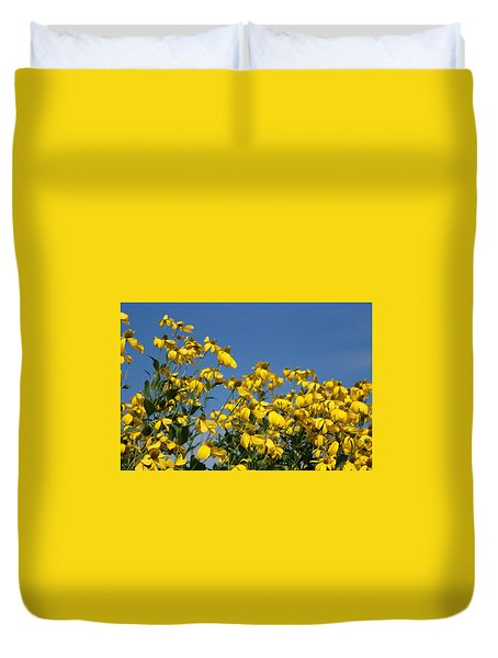 Yellow On Blue Duvet Cover by Lois Lepisto
