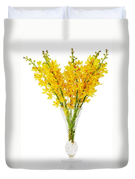Yellow Orchid In Crystal Vase Duvet Cover