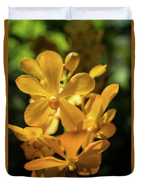 Yellow Orchid Duvet Cover by Jocelyn Kahawai