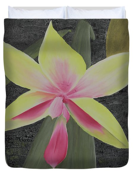Yellow Orchid Duvet Cover