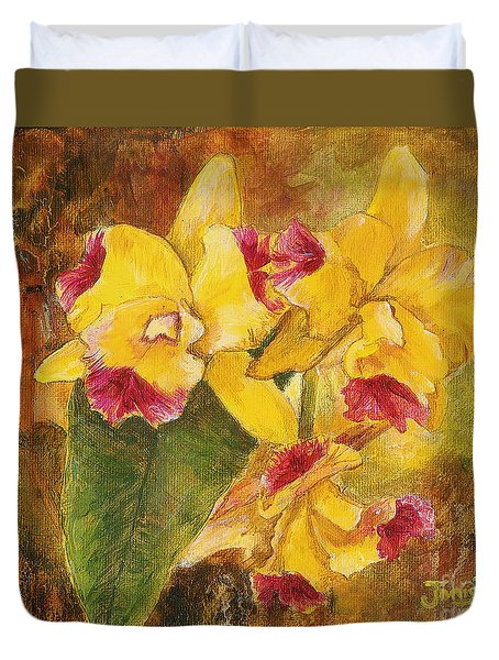 Yellow Orchids Acrylic Duvet Cover