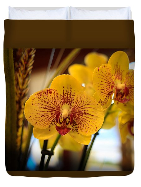 Yellow Orchis Duvet Cover
