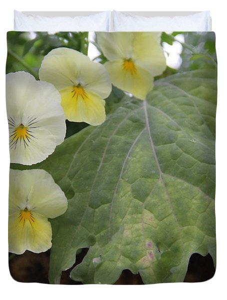 Yellow Pansies Duvet Cover