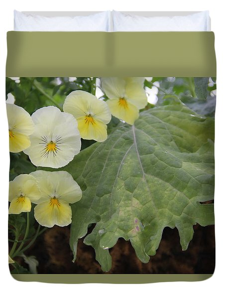 Yellow Pansies Duvet Cover