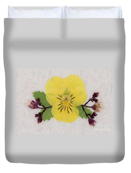 Yellow Pansy And Coral Bells Pressed Flowers Duvet Cover