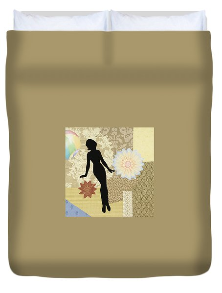 Yellow Paper Doll Duvet Cover