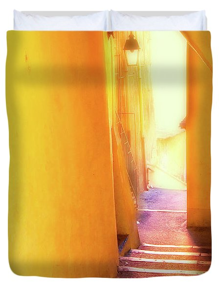 Duvet Cover featuring the photograph Yellow Passage  by Harry Spitz