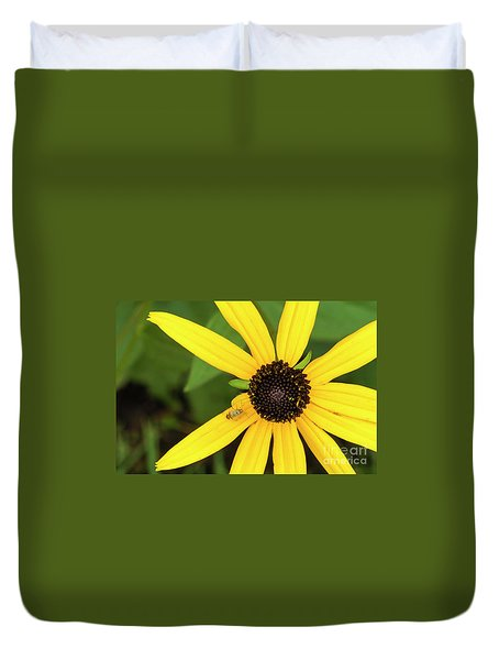 Yellow Petaled Flower With Bug Duvet Cover