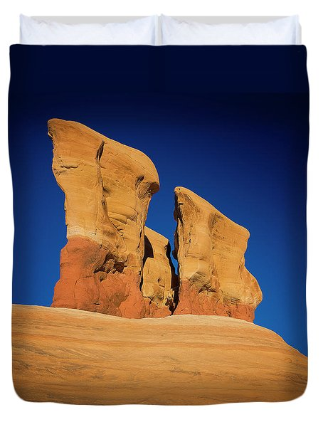 Duvet Cover featuring the photograph Yellow Pillars by Edgars Erglis