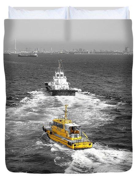 Yellow Pilot Yokohama Port Duvet Cover by Susan Lafleur