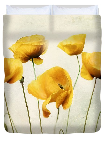 Duvet Cover featuring the photograph Yellow Poppies - Square Version by Amy Tyler
