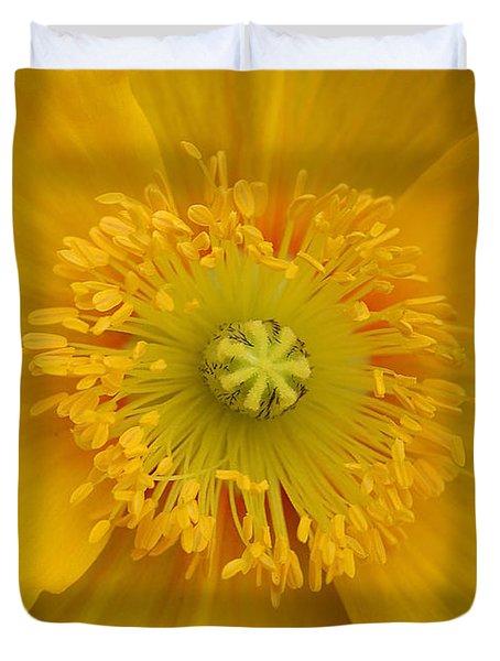 Yellow Poppy Flower Center Duvet Cover