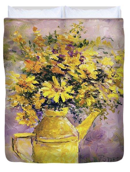 Yellow Pot Of Sunshine Duvet Cover