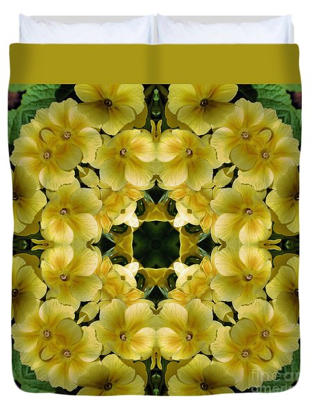 Duvet Cover featuring the digital art Yellow Primrose Kaleidoscope by Smilin Eyes  Treasures