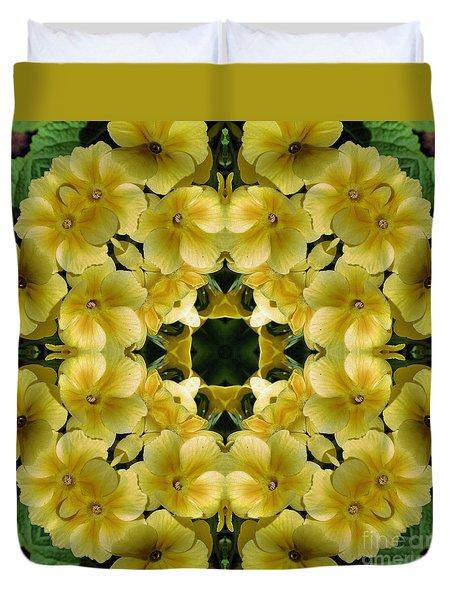 Yellow Primrose Kaleidoscope Duvet Cover