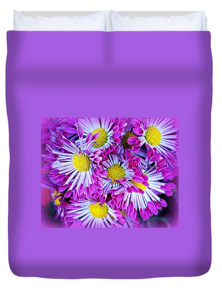 Yellow Purple And White Duvet Cover